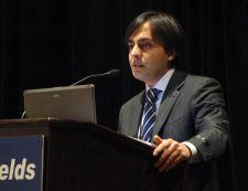 Zulmay Afzali at a press conference
